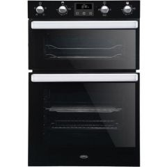 Belling BI902FPBLK Built In Double Oven A Rated, Electric, 80L Main Oven 44L Top Oven, Main Oven Fan