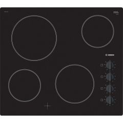 Bosch PKE611CA1E 4 Zone Ceramic Hob, Frameless Design, Side Controls, Variable 9 Stage Power Setting