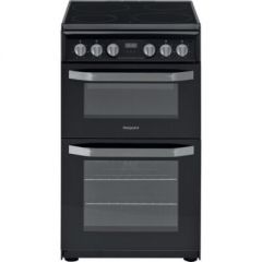 Hotpoint HD5V93CCB 50Cm Electric Double Oven 62L Fan Main Oven, 33L Top