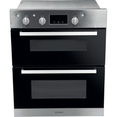 Indesit IDU6340IX Built Under Aria Electric Double Oven - Black And Stainless Steel