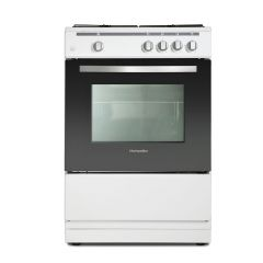 Montpellier MSG60W 60Cm Single Oven Gas Cooker in white with easy to clean enamel linings